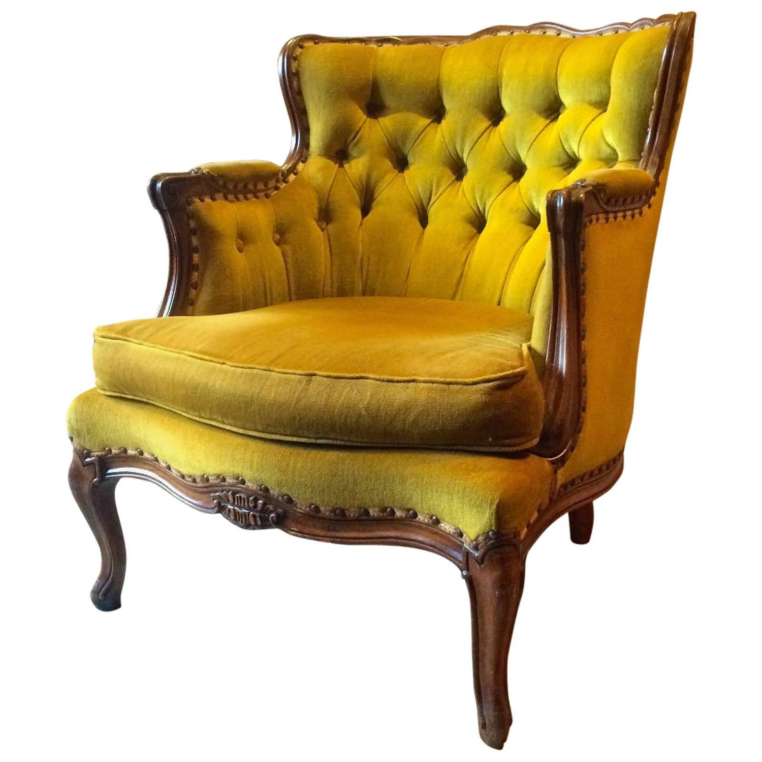 Vintage Armchair Styles: Antique Louis XV Style Armchair French Button-Back Gold