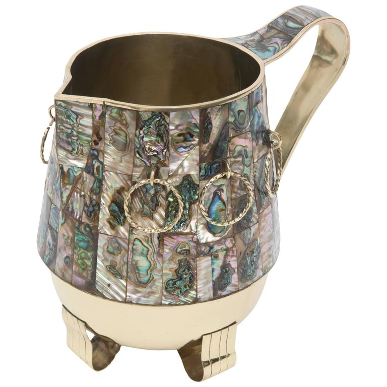 Abalone and Polished Brass Pitcher or Vase or Object