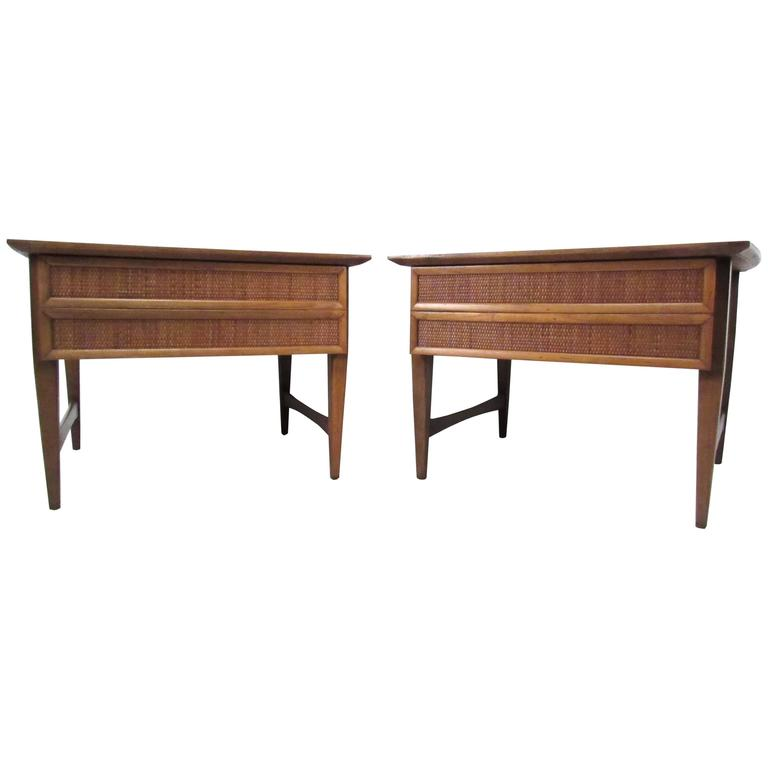 Pair of Mid-Century Modern Cane Front End Tables by Lane