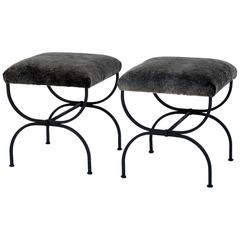 Pair of Chic Fur-Covered Wrought Iron Stools in the Style of Gilbert Poillerat