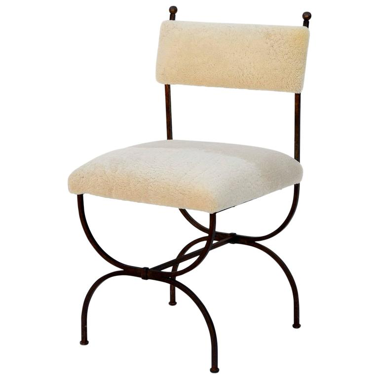 Exceptional Wrought Iron and Sheepskin Side Chair by Gilbert Poillerat