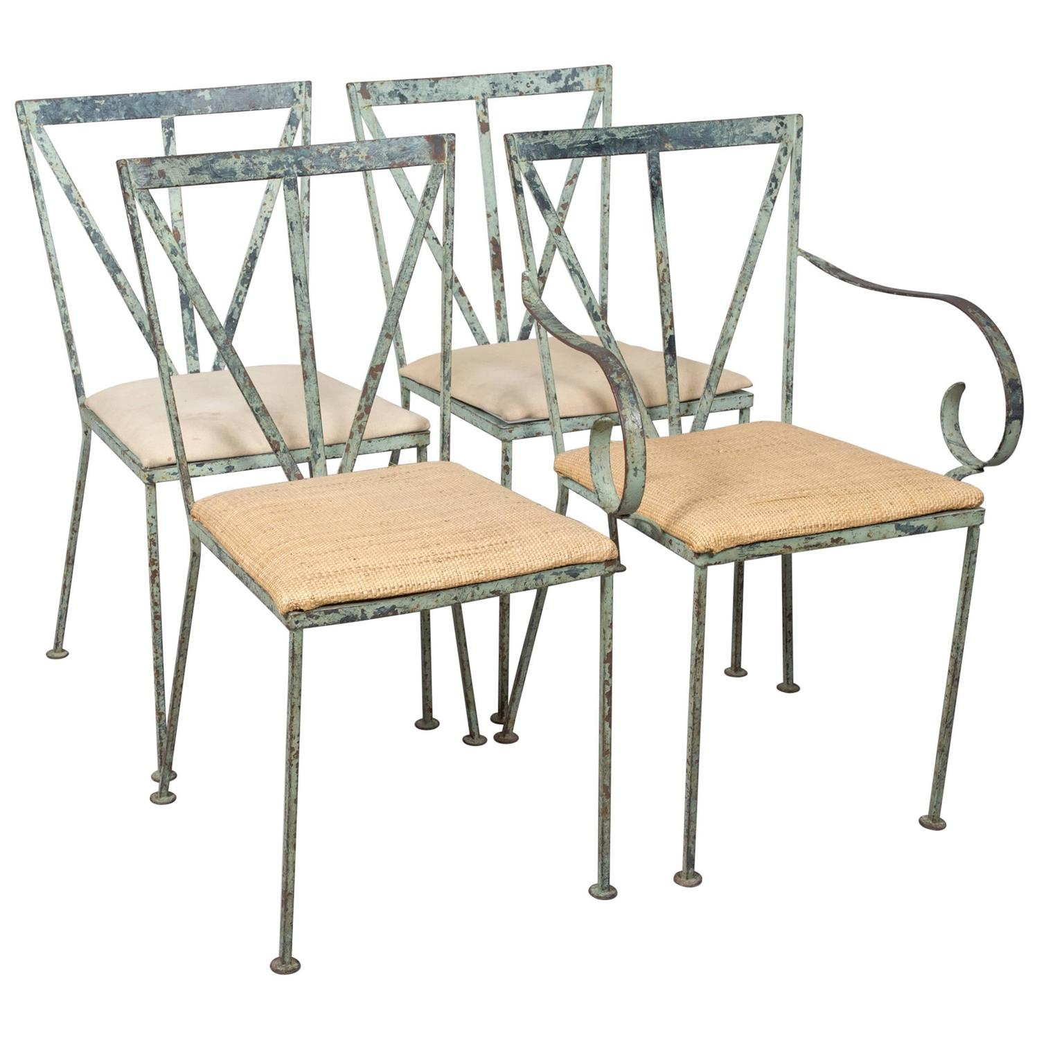 Set of Four Mid Century Garden Chairs For Sale at 1stdibs
