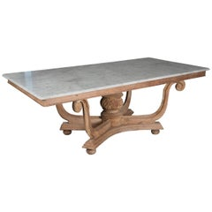 1930s English Marble-Top Dining Table