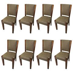 Rare Set of Eight Andre Sornay Dining Chairs