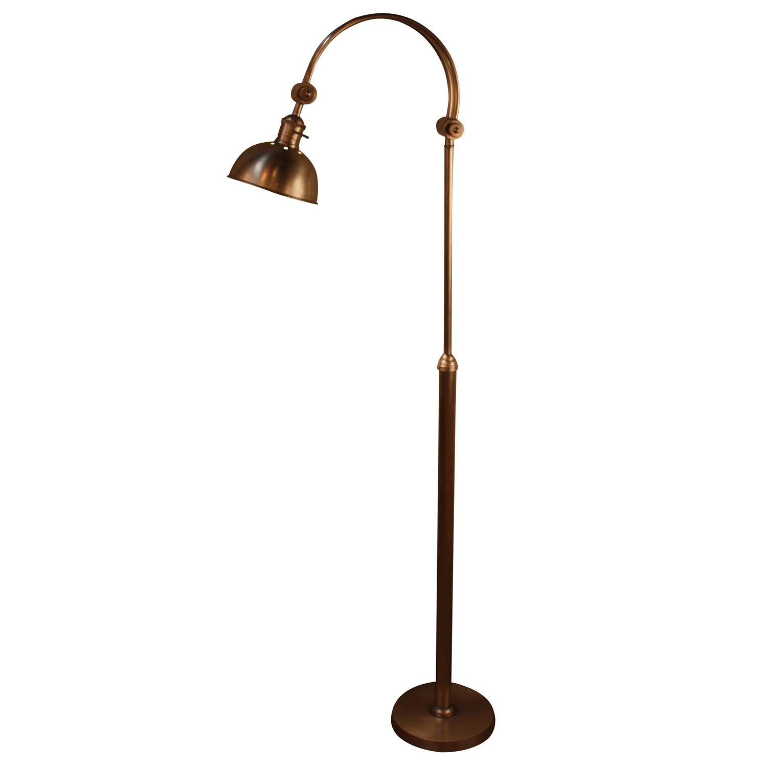 spanish adjustable arm satin nickel floor lamp at 1stdibs. Black Bedroom Furniture Sets. Home Design Ideas
