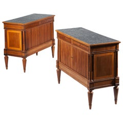 18th Century Pair of Italian Neoclassical Tambour Cabinets