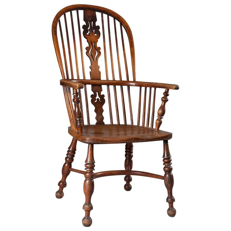 19th Century Yew Wood Windsor Chair For Sale