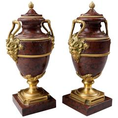 Pair of Neoclassical Ormolu and Marble Urns by Alfred Beurdeley