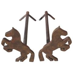 Pair of Handmade Folky Rustic Horses Andirons
