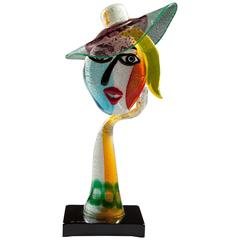 Murano Art Glass Hat Wearer, Homage to Picasso