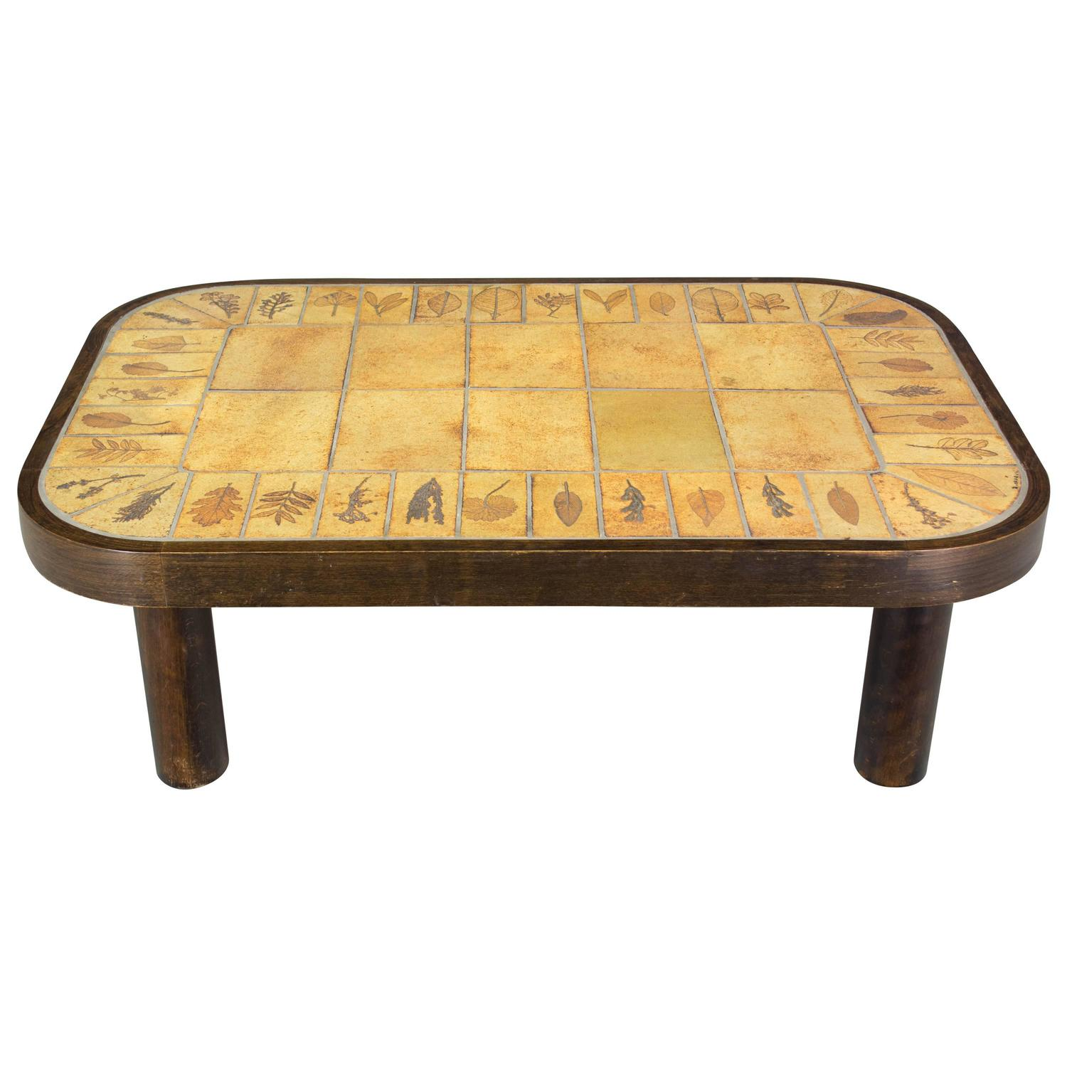 Tile Coffee Table Set: Roger Capron Ceramic Tile Top Coffee Table For Sale At 1stdibs