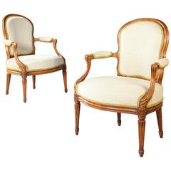 Pair of Louis XV Transitional Fauteuils Stamped N S Courtois