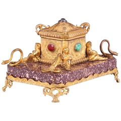 Antique Porphyry & Ormolu Inkwell, with Malachite & Semi Precious Stones