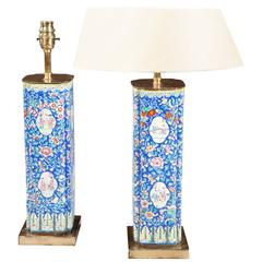 Chinese Export Vases as Lamps Decorated in Blue Canton Enamel