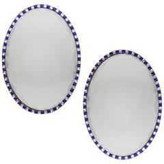 Pair of Blue Irish 19th century Oval Mirrors