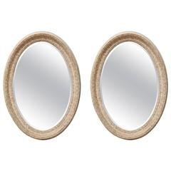 Pair of English Oval Painted Mirrors