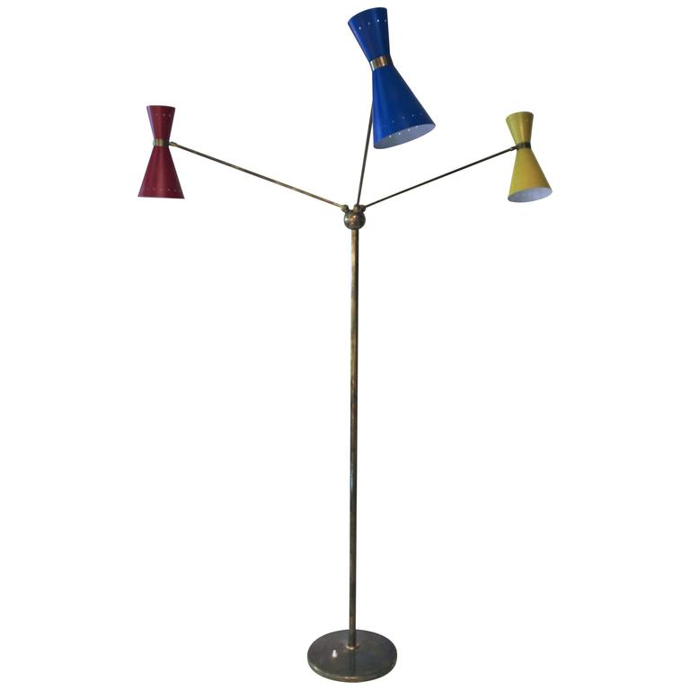 Triennale Floor Lamp with Three Lights, Brass and Metal, circa 1960, Italy