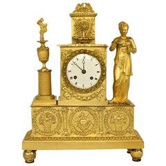 Empire Ormolu Figural Mantle Clock of the Goddess Flora