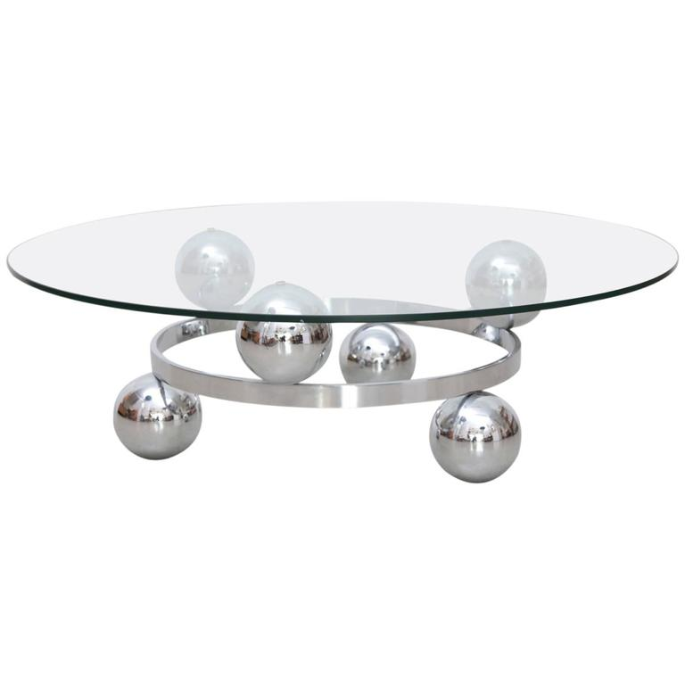 Round Chrome Sputnik Atomic Coffee Table With Glass Top For Sale At 1stdibs
