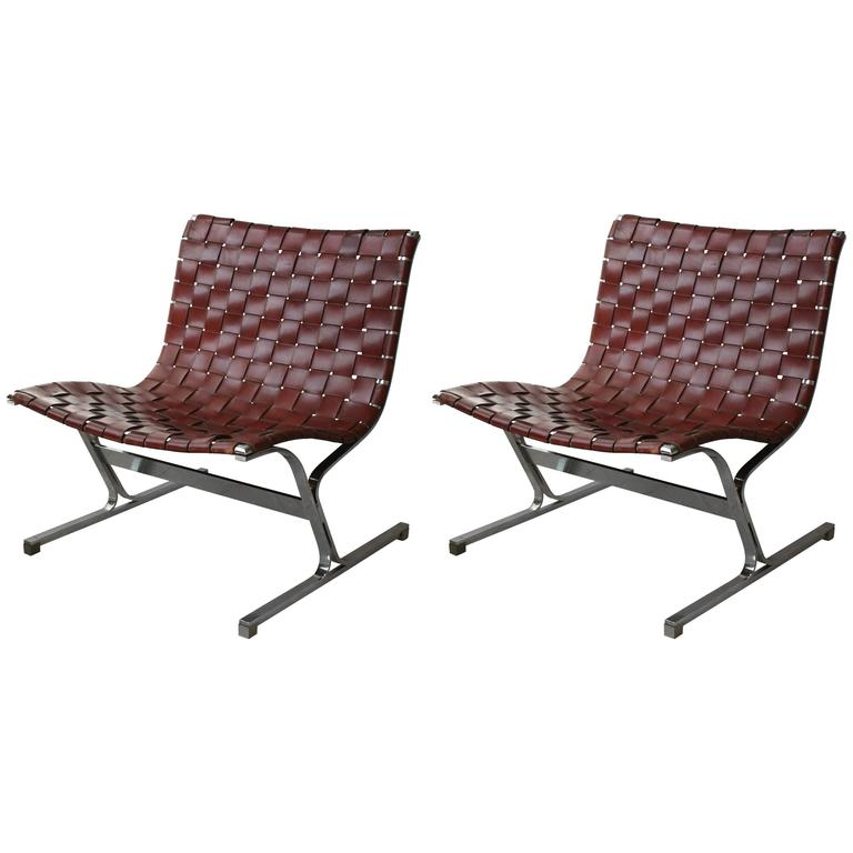 Pair of Ross Littell Leather and Chrome Chairs