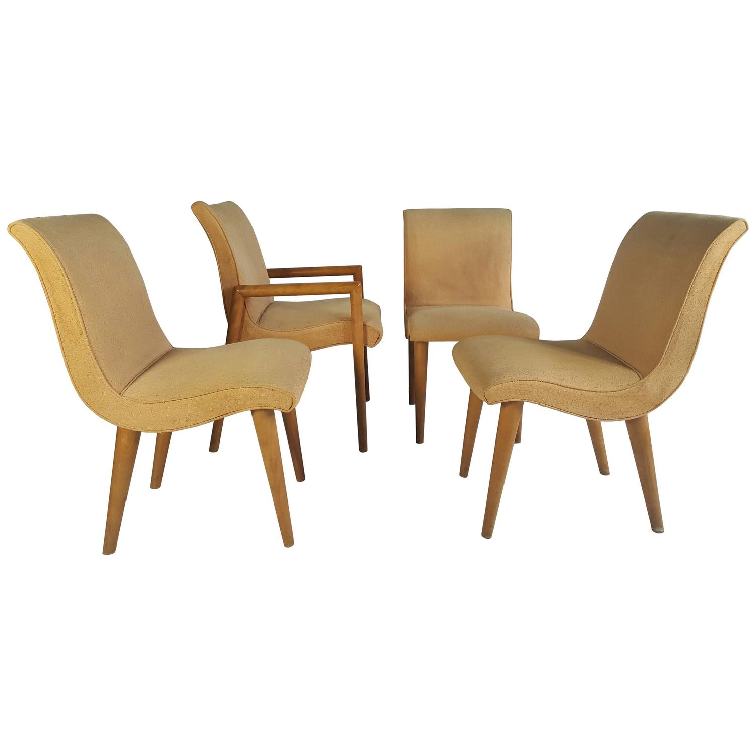 Set Of Four Russel Wright For Conant Ball Dining Chairs Modernist At 1stdibs