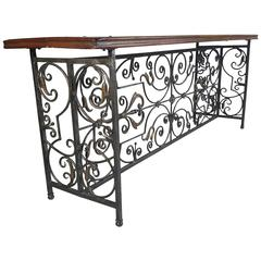 French Wrought Iron and Brass/Bronze Console Table