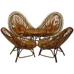 Mid Century Modern Rattan Garden Furniture by Janine Abraham Dirk Jan Rol 1950s