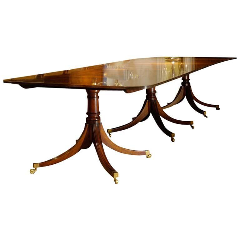 Handmade Three-Pedestal Solid Mahogany Dining Table with Two Leaves