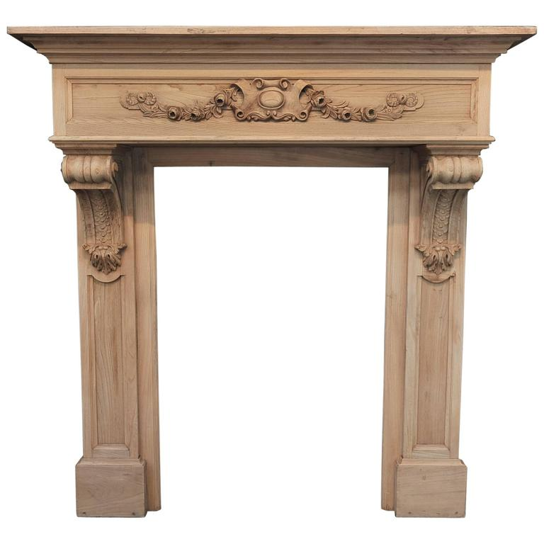 Early 1900s French Carved-Oak Fireplace Mantel at 1stdibs