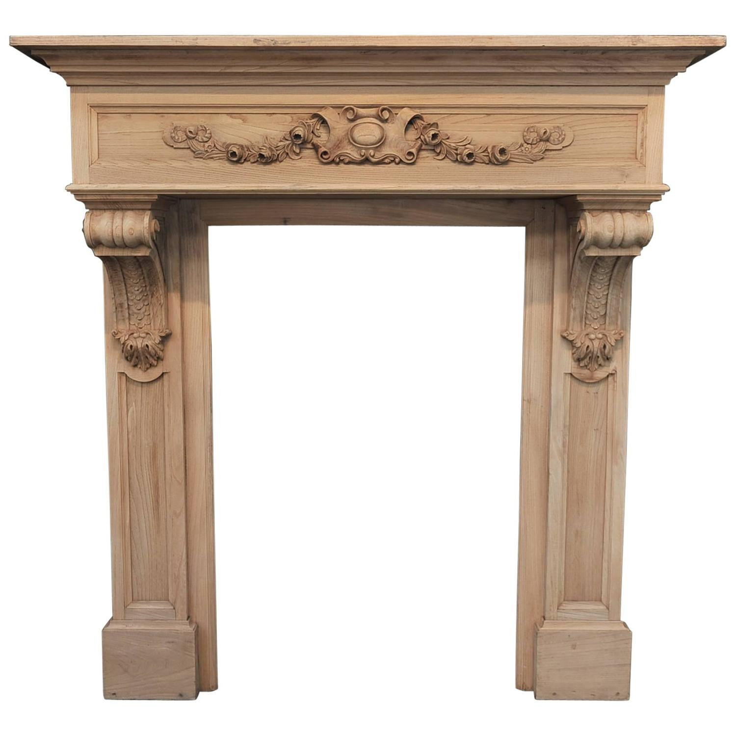Early s french carved oak fireplace mantel at stdibs