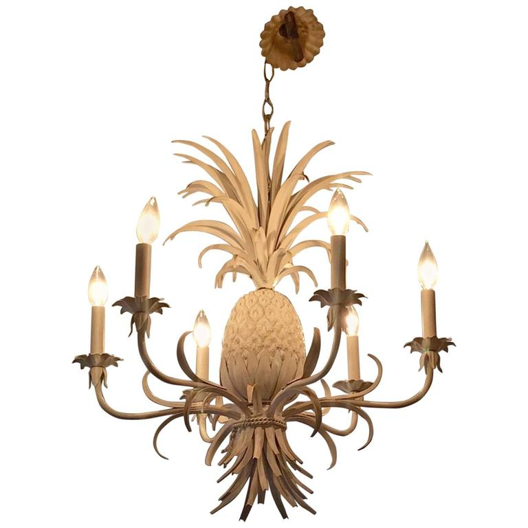 sale retailer 4913a 671a2 Glamorous White Painted Tole and Iron Pineapple Chandelier ...