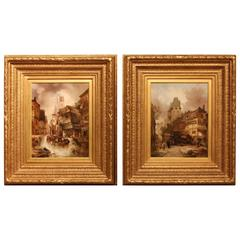 """Pair of Oil Paintings """"Continental Townscapes"""" by Alfred Montague"""