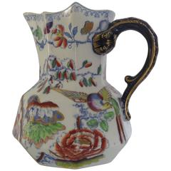 "Mason's Ironstone JUG or PITCHER, Oriental ""Flying Bird"" Pattern, circa 1845"