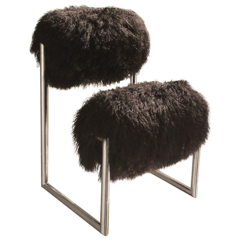 Limited Edition Due Piu Chair In Black Mongolian Fur At