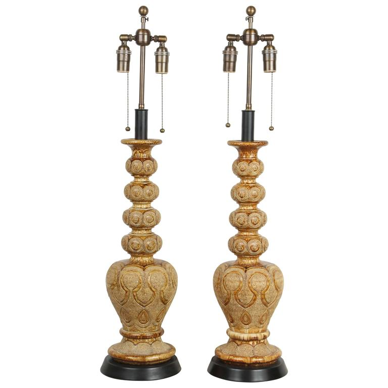 Pair of Exotic Ceramic Table Lamps with an Umber Glaze