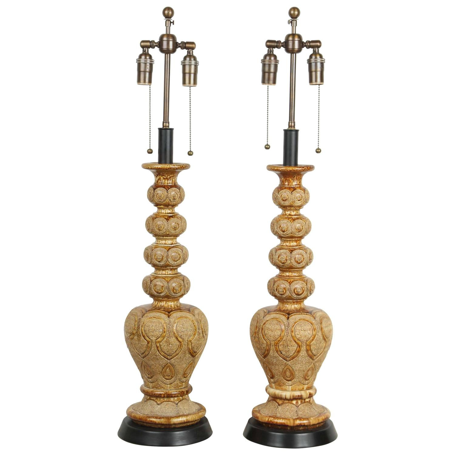 pair of exotic ceramic table lamps with an umber glaze for dealdey exotic bedside lamp