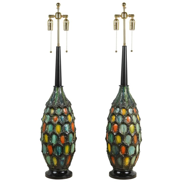 Fantastic Pair of Large Ceramic Lamps with a Lava Textured Glaze