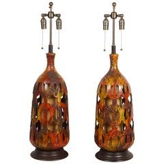 Spectacular Pair of Large Ceramic Lamps