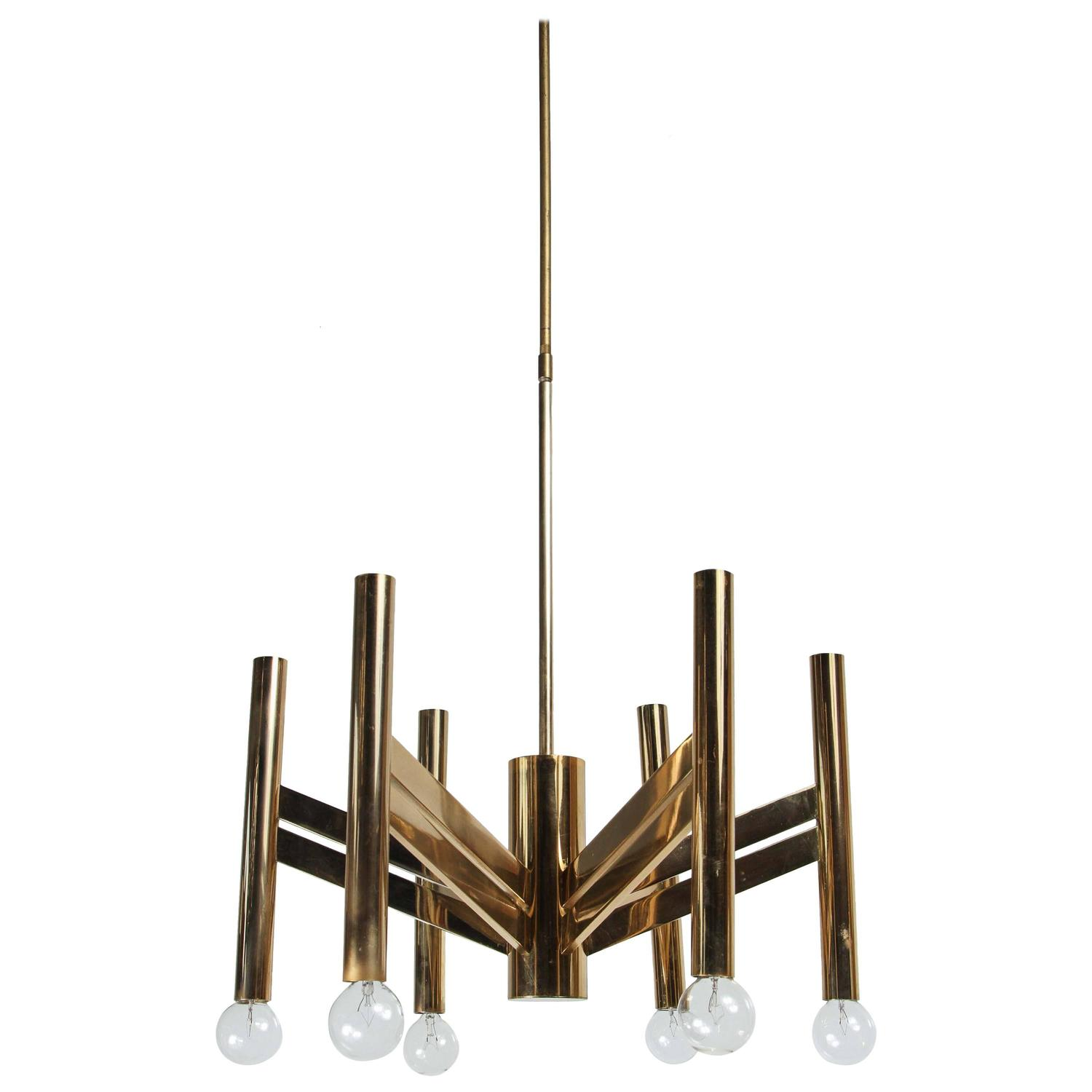 Geometric Brass Chandelier: Geometric Brass Chandelier By Sciolari At 1stdibs