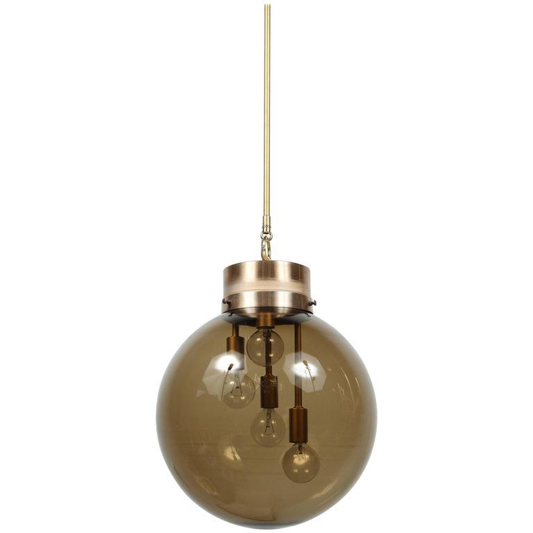 Large Smoked Globe Pendant Light