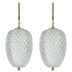 Pair of Large Glass Pineapple Pendant Lamps