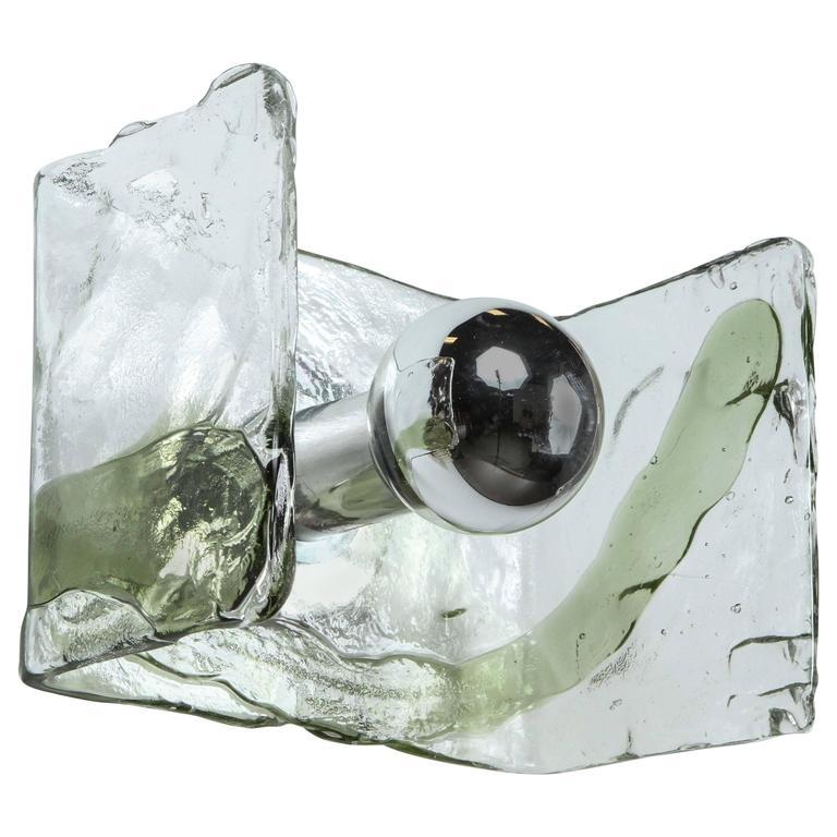 Minimalist Glass Sconce by Mazzega