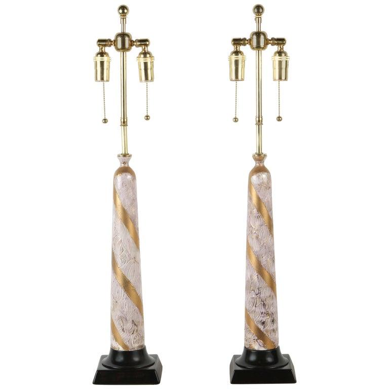 Pair of Elegant Ceramic Table Lamps For Sale