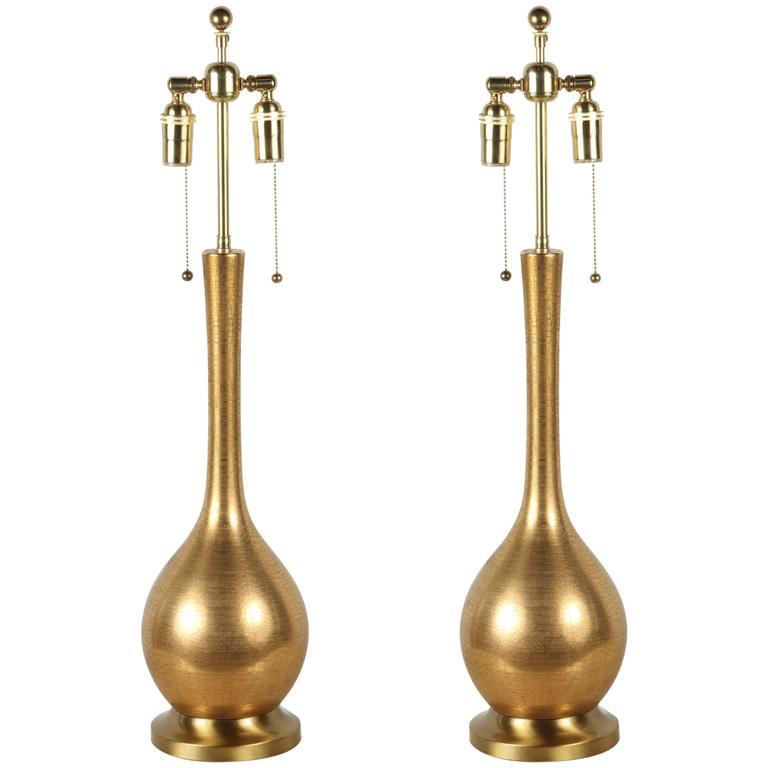 Gorgeous Pair of Gold Crackle Glaze Ceramic Lamps