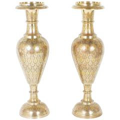 Pair of Mid-Century Palatial Indian Brass Urns