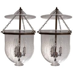 """Pair of Bell Jar Lanterns with """"Wheat"""" Etching"""