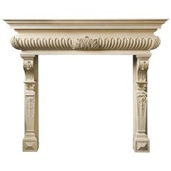 Highly Carved Baroque Style Mantel Carved in Limestone 'The Randolph'