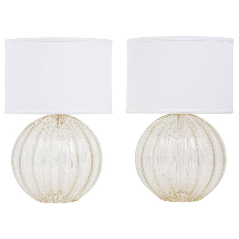 "Pair of Murano ""Pulegoso"" Glass Globe Lamps For Sale"