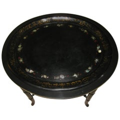 19th century English Black Lacquer and Gilt  Papier-Mache Tray on Stand
