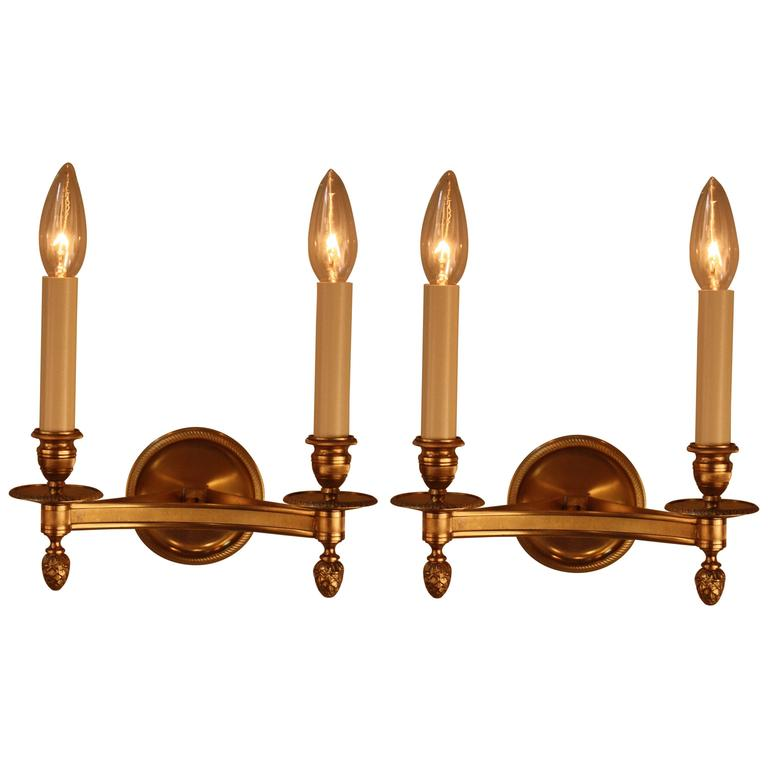 Pair of Classic Design Bronze Wall Sconces by Maison Charles